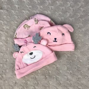 Carter's Baby Girl Hat Bundle Pink Bunny Monkey